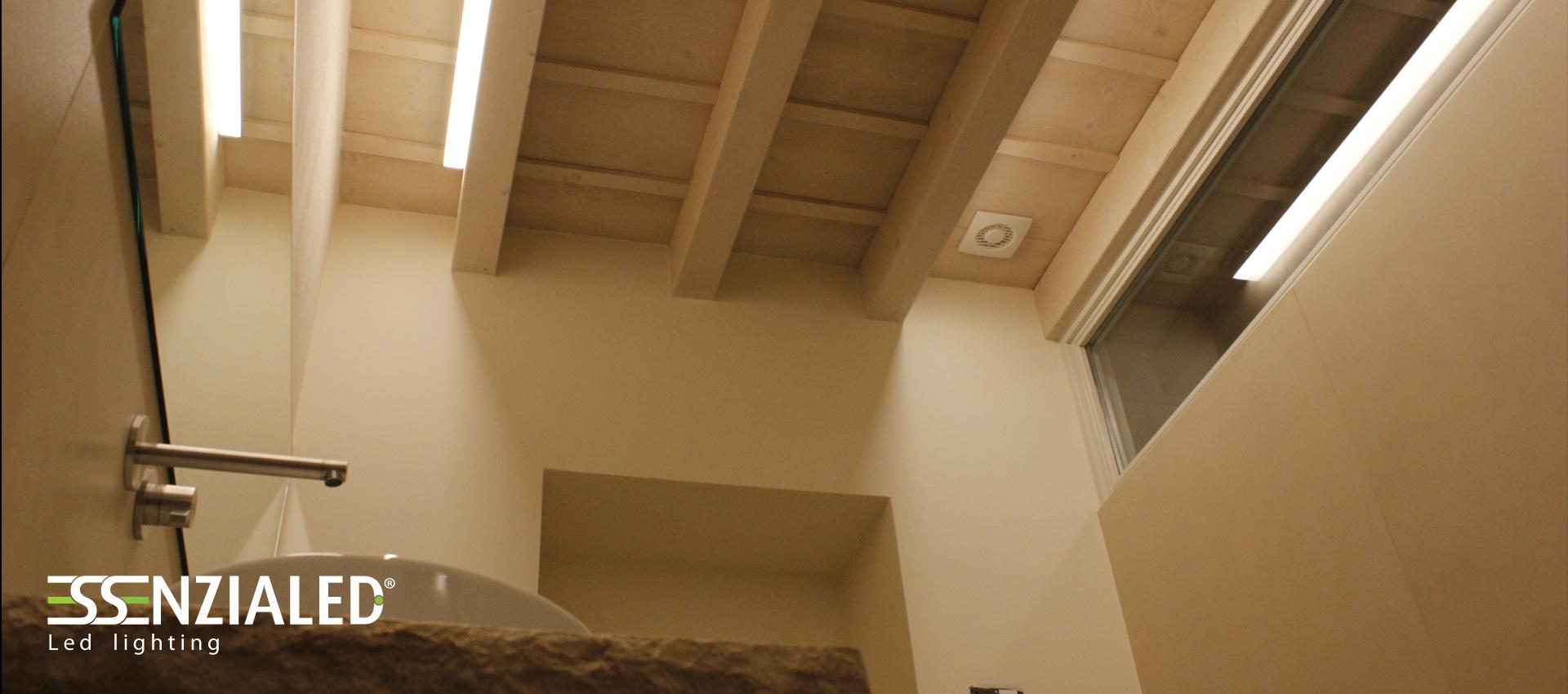 Big lampada lineare led essenzialed su for Soffitto travi a vista illuminazione
