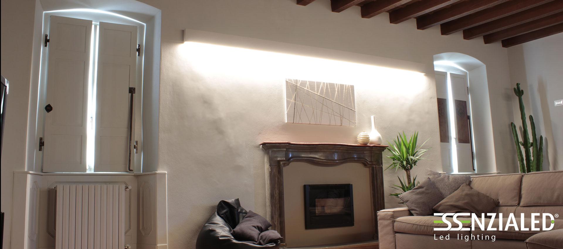 Righello lampada parete in gesso a led prodotta for Illuminazione travi a vista