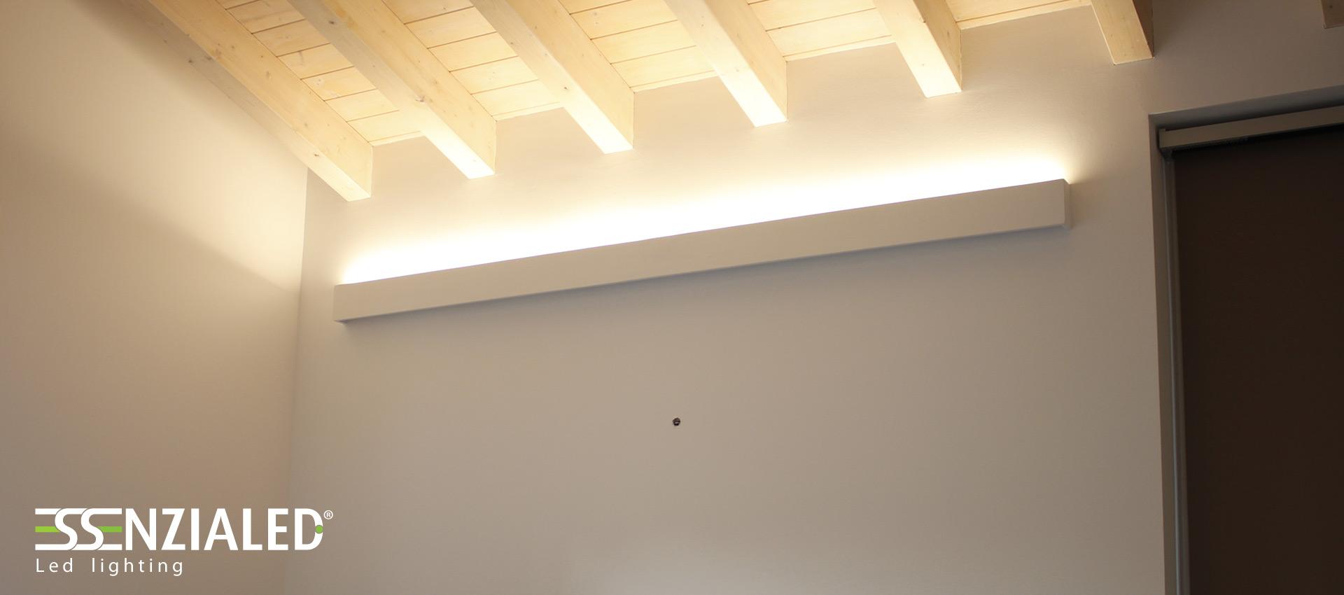 Illuminazione travi in legno – Pannelli termoisolanti