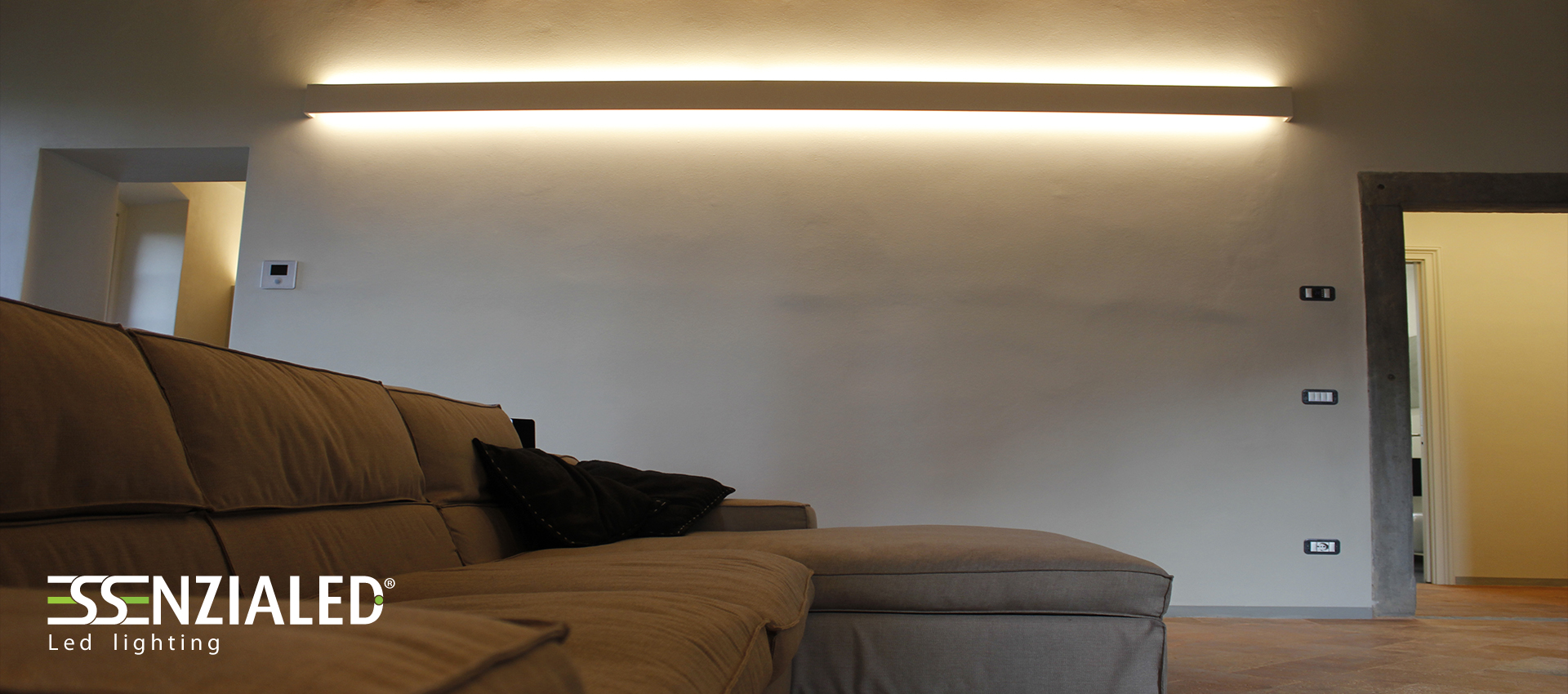 righello lampada parete in gesso a led prodotta ... - Pareti In Gesso Prezzi