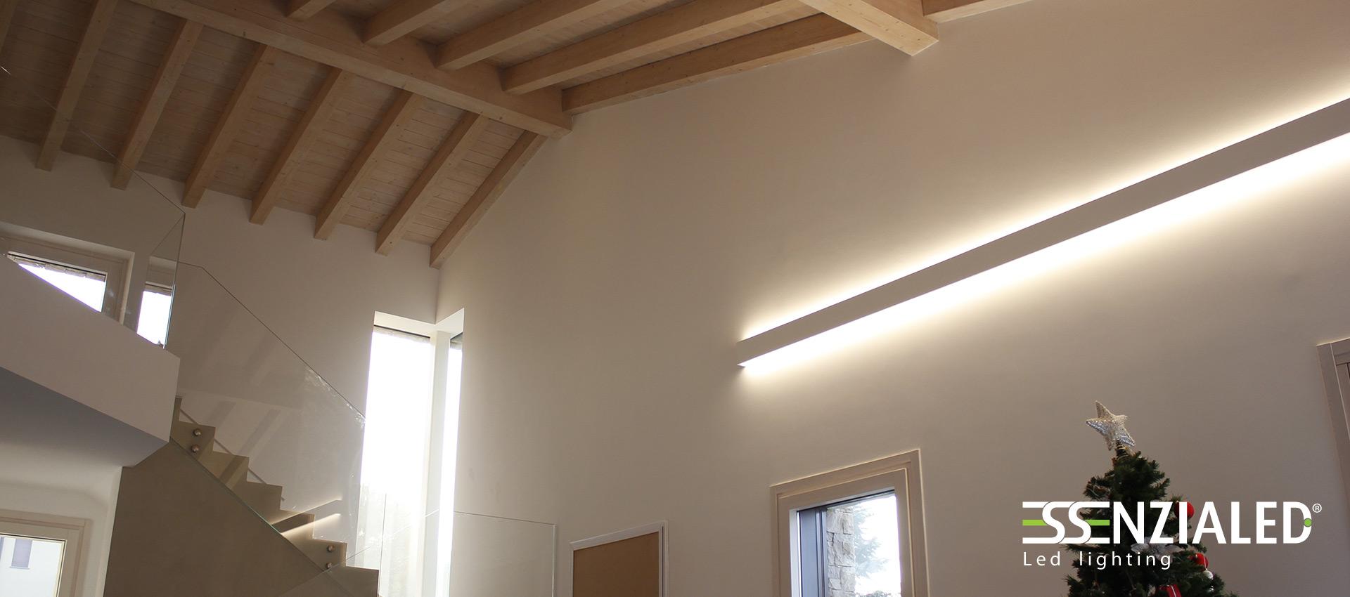 Righello lampada parete in gesso a led prodotta for Lampade lunghe a led