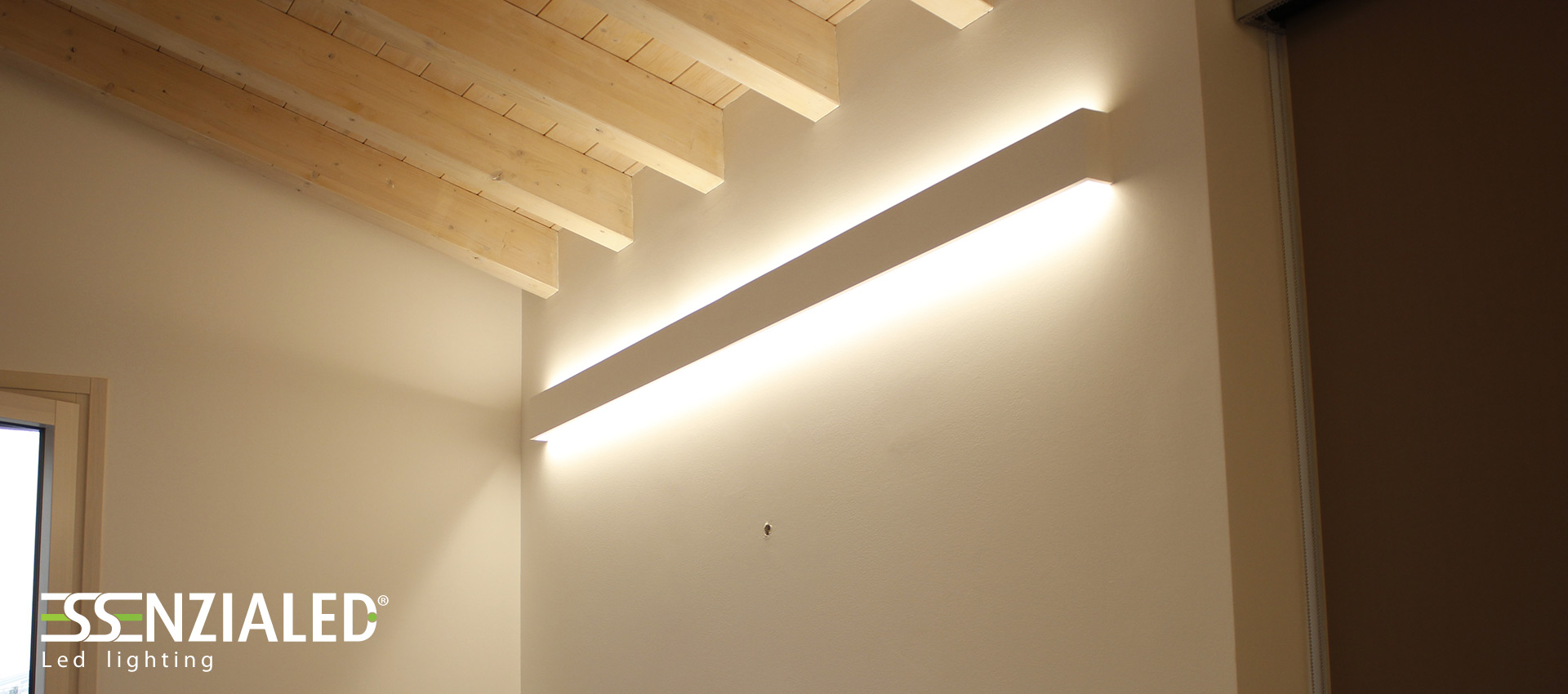 Righello lampada parete in gesso a led prodotta for Lampade industriali ikea