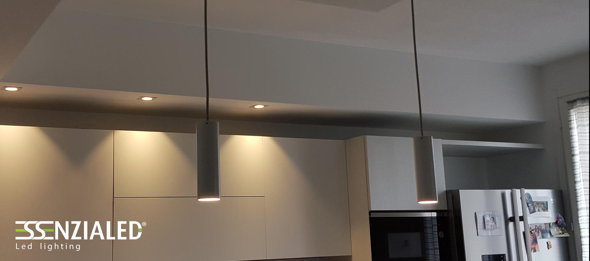 Cilindro sospensione led disponibile in varie finitureessenzialed illuminazione a led - Lampade a led per cucina ...